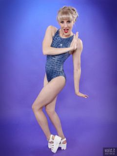 2017-06-10 Emma Lou blue 1980's crocskin swimsuit by M&S