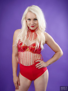 2017-06-10 Dayna Nirvana red jeweled dance top and Chinese pocket girdle worn as hotpants