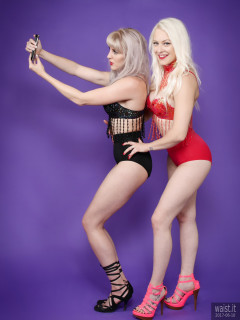 2017-06-10 Selfie time - android phone actually used to trigger camera via wi-fi - Emma Lou and Dayna Nirvana in jewelled dance tops and Chinese pocket girdles - worn as hot pants