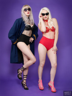 2017-06-10 Emma Lou and Dayna Nirvana in jewelled dance tops and Chinese pocket girdles - worn as hot pants