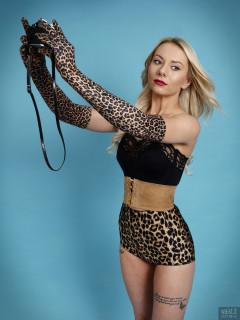 2017-08-15 Jade-Lauren in black long-line strapless bra top and animal print pantie girdle worn as hot-pants