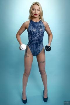 2017-08-15 Jade-Lauren in blue, high-leg, 1990s crocskin swimsuit by M&S