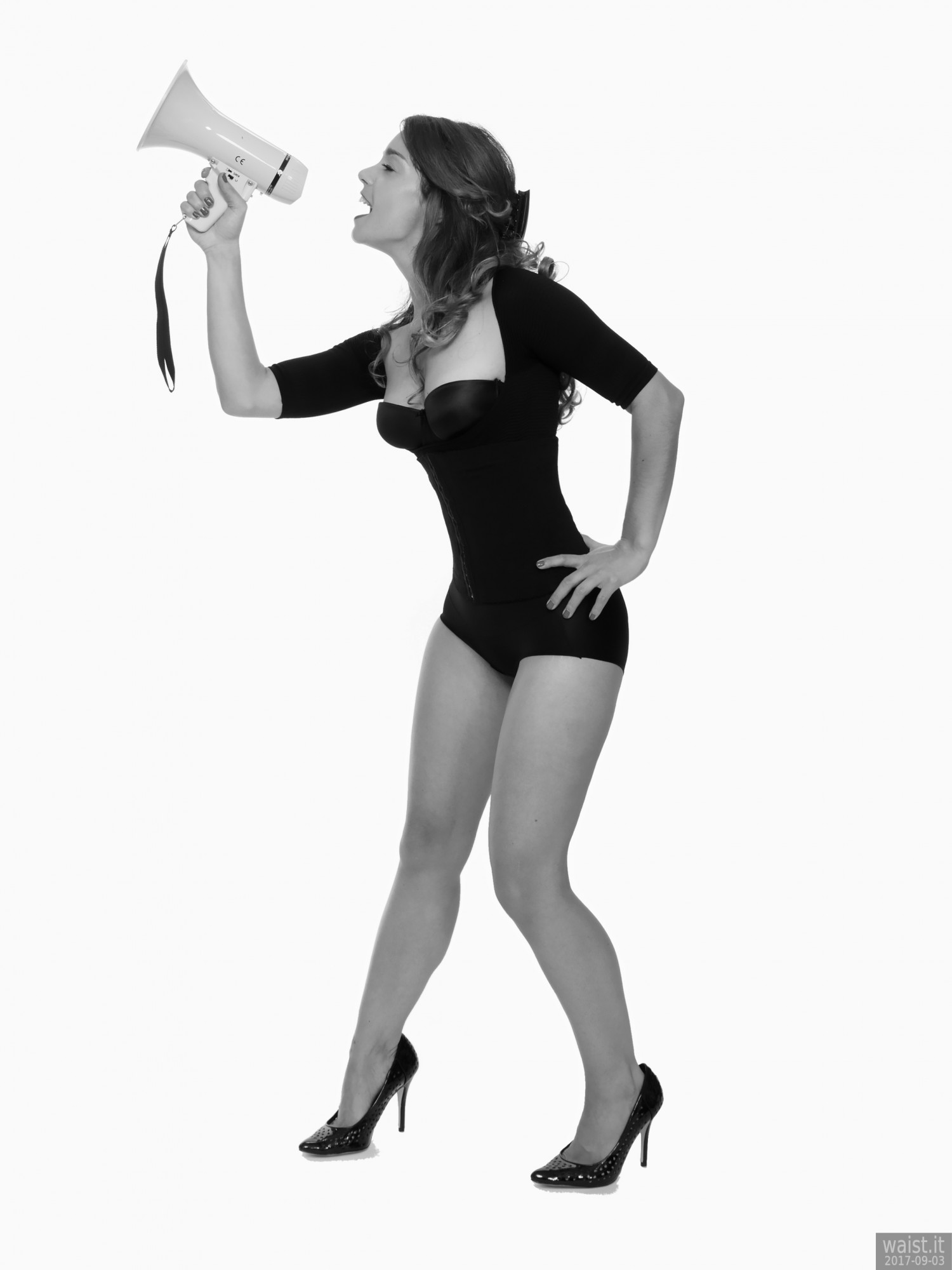 2017-09-03 Paula Soares in black bra, posture top and control briefs worn as hotpants holding megaphone