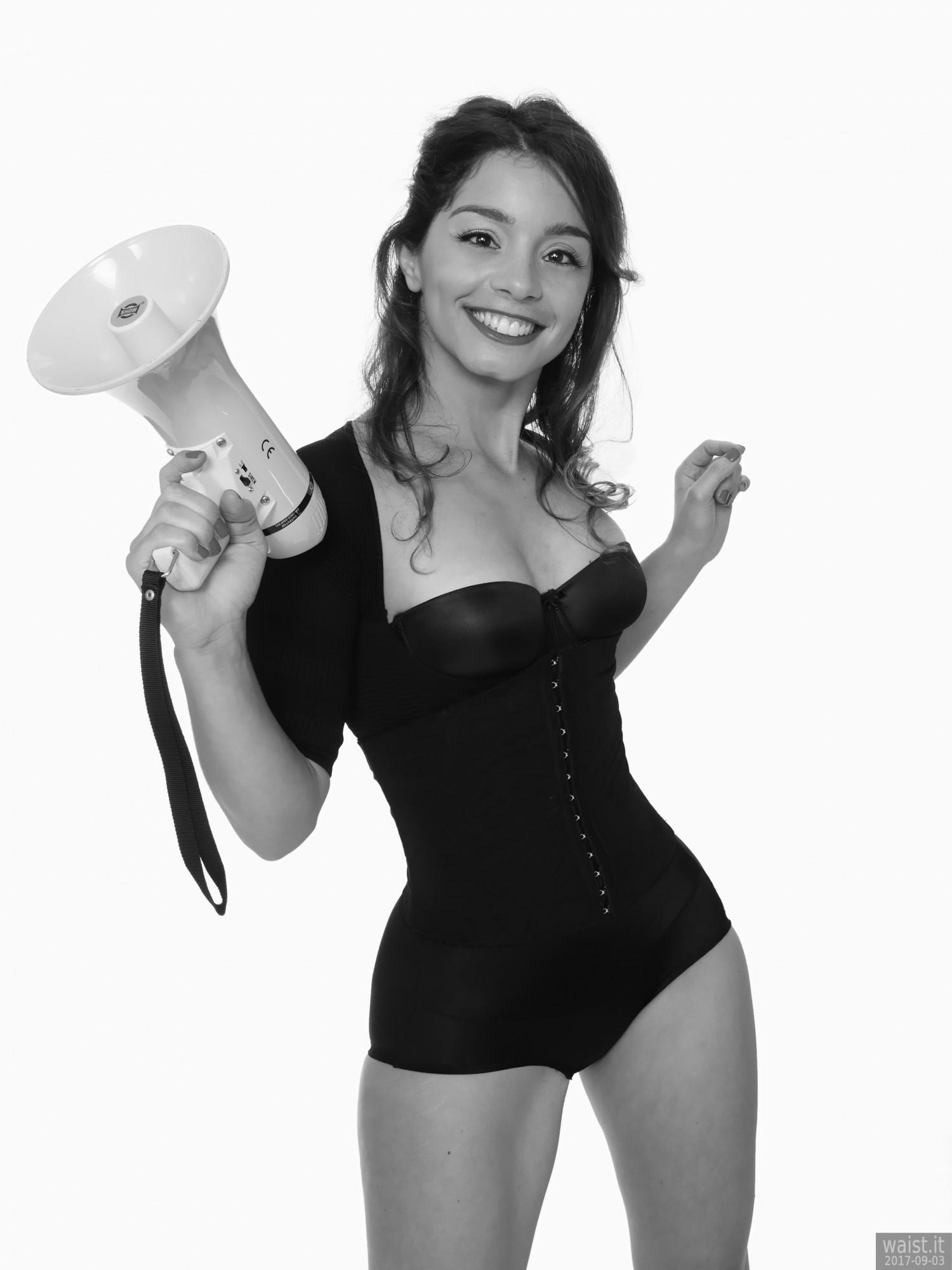 2017-09-03 Kris in black bra, posture top and control briefs worn as hotpants holding megaphone