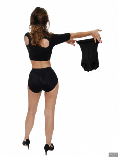2017-09-03 Paula Soares in black bra, posture top and control briefs worn as hotpants