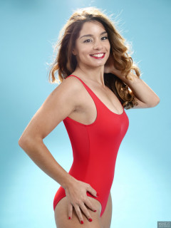 2017-09-03 Paula Soares in red baywatch one-piece swimsuit
