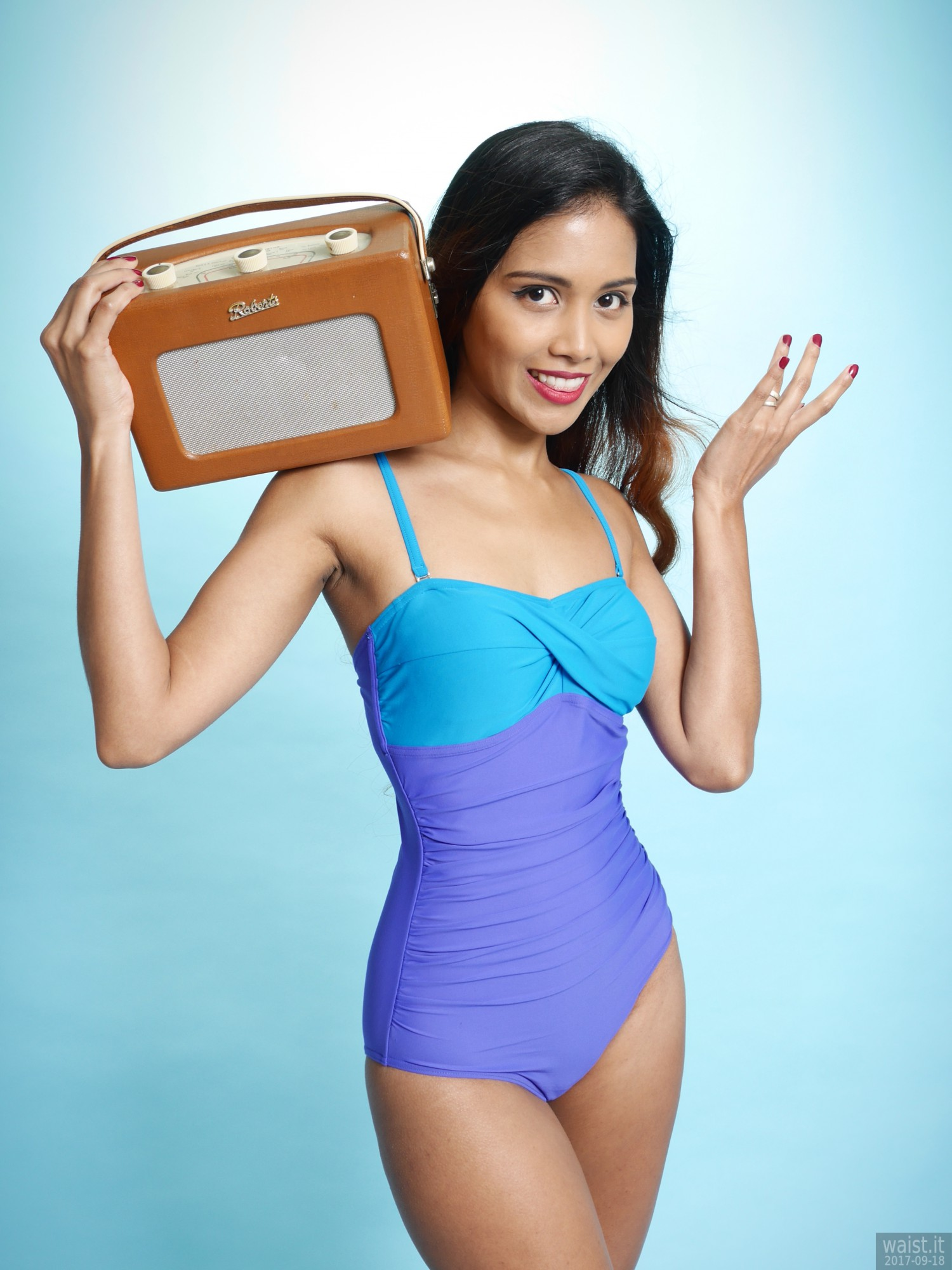 2017-09-18 Faranas in blue and purple vintage style one-piece swimsuit by M&S