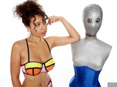 2017-09-23 Stephy in multi-coloured neoprene bikini, with Melissa the android