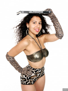 2017-09-23 Stephy in bronze boobtube and animal print pantie girdle worn as hotpants