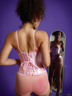 2017-09-23 Stephy in pink corset and firm control vintage pantie corselette