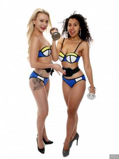 2017-09-30 Jade lauren and Sephy Samer in neoprene bikinis using AB-Sonic buzzybelts