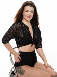 2017-10-15 Chloe Michelle black lace top and her own high waist control briefs worn as hotpants.