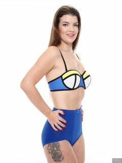 2017-10-15 Chloe Michelle blue mixed colour neoprene bikini top and blue pantie girdle worn as hotpants.