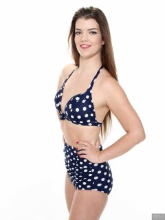 2017-10-15 Chloe Michelle blue and white vintage-style high-waist polkadot bikini.