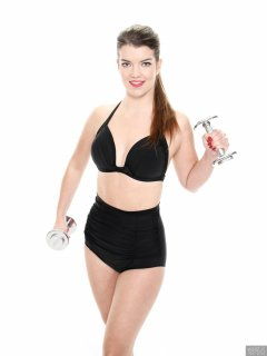 2017-10-15 Chloe Michelle black rouched vintage-style high-waist polkadot bikini.
