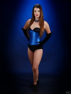 2017-10-15 Chloe Michelle in black boob tube and style 210 pantie girdle worn as hotpants, with tightly-laced blue underbust corset.