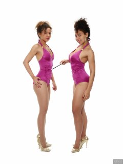 2017-10-22 Isabelle and Stephy fitness session in purple one-piece swimsuits - figure control exercises