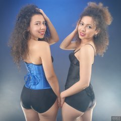 2017-10-22 Stephy and Isabelle 2017-10-22 Stephy and Isabelle in tight-laced corsets and black pantie girdles worn as hotpants