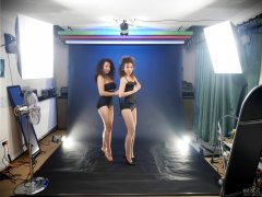 2017-10-22 Stephy and Isabelle in tight-laced corsets and black pantie girdles worn as hotpants - studio long-shot