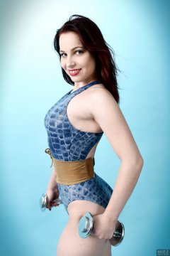 2017-11-05 Maddie Skye in blue 1980s crocskin swimsuit