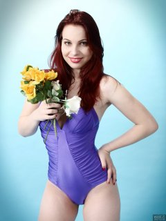 2017-11-05 Maddie Skye in purple pinup onepiece swimsuit