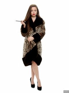 Charlene Joy in vintage fur coat, worn over her competition bikini