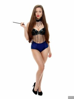 Charlene Joy in jewelled dance top and blue control briefs worn as hotpants