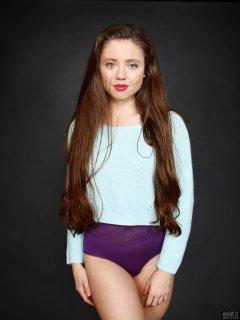 Charlene Joy in her own white pullover