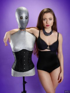 Charlene Joy in black bra and high-waist control briefs