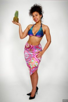 2017-11-26 Stephy Samer fashion shoot - in her own tie-side bikini and pink lycra sarong