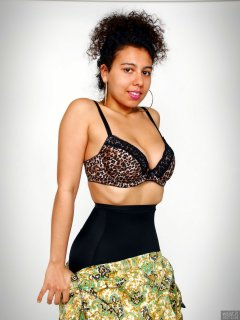 2017-11-26 Stephy Samer - putting on dress whilst showing off her fabulous figure in black animal-print bra and black, high-waist, firm-control, pantie girdle worn as hotpants