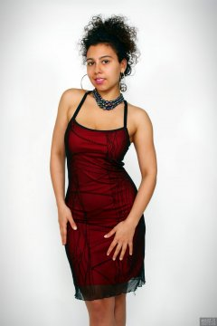 2017-11-26 Stephy Samer - in red and black layered bodycon dress - shaped by underneath by high-waist, firm-control pantie girdle