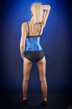 2017-12-16 Christina Demy in blue tightly-laced blue underbust corset, over black bra and black pantie girdle, worn as hotpants