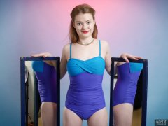 2018-02-03 Amy in blue and purple tummy-contro; vintage style swimsuit by M&S