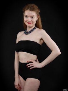 2018-02-03 Amy black boobtube and black control briefs worn as hotpants