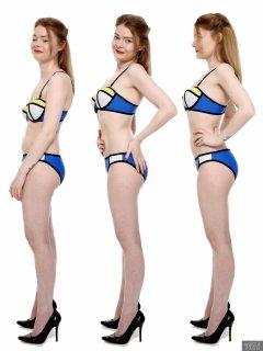 2018-02-03 Amy posture demonstration, in blue neoprene bikini