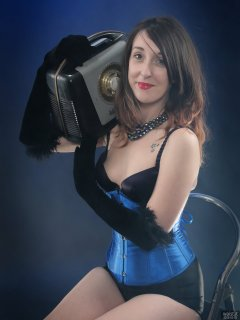 2018-02-18 Madame Cerise in black bra and pantie girdle and tightly-laced blue underbust corset