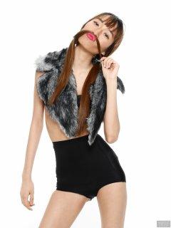 2018-02-24 Salina Pun in black bra top and black high-waist Chinese control briefs worn as hot-pants