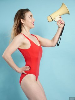 2018-04-07 Annie91 in red one-piece swimsuit