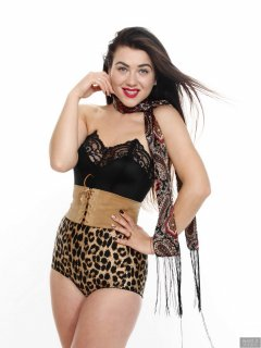 2018-06-15 Tatjana Bastet in black strapless longline bra top and leopard-print Beauform pantie girdle worn as hotpants, c/w tight leather corset-belt