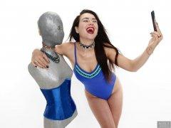 2018-06-15 Tatjana Bastet in tight blue tummy-control one-piece swimsuit
