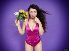 2018-06-15 Tatjana Bastet in purple vintge-style tummy-control one-piece swimsuit