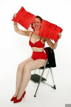 2018-07-07 Chiara in red Chinese bra and pocket girdle