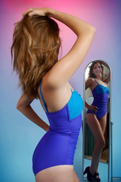 2018-07-25 Twinklenose, in tight, blue and purple, vintage, one-piece, tummy-comtrol swimsuit by M&S