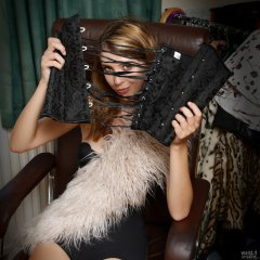 2018-07-25 Twinklenose, candid shot, in furry top worn over black bra and black pantie girdle, worn as hotpants