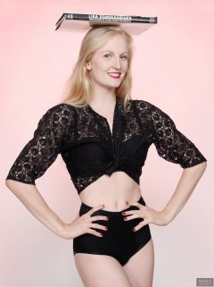 2018-09-01 Christina Elsom - in black bra and lace bolero top and black bum-lifter tummy-control briefs worn as hotpants