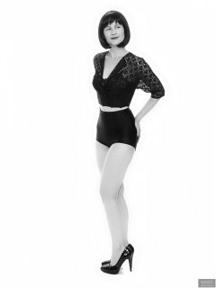 2018-09-16 Saffine in black strapless bra top, black bolero and  black Style 210 pantie girdle worn as hotpants