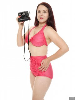 2018-10-21 Darya (DaryaM) in her own pink polkadot high waisted bikini