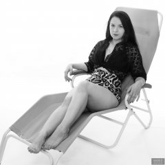 2018-10-21 Darya (DaryaM) on Relaxator 365 chair, in lace bolero top and leopard print pantie girdle worn as hotpants