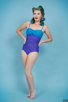 2018-11-04 Sophie Pixie in blue and purple vintage-stye tummy-control one-piece swimsuit